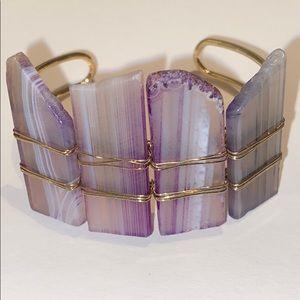 Genuine Amethyst Cuff Gold Bracelet
